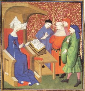Christine de Pizan lecturing men Image from Wikimedia Commons