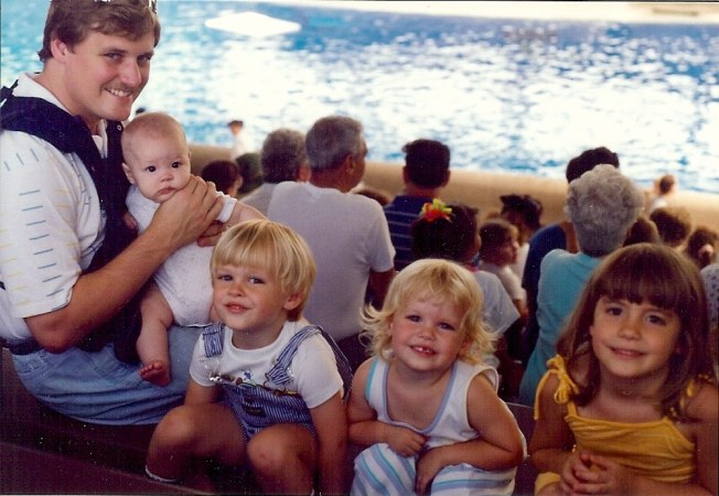 Brookfield Zool dolphin show, August 1991. Jim (RIP), Emily, Josh, Becca and Susan (who will be wed in less than three weeks).