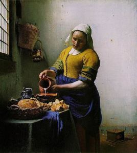 The Milkmaid, oil-on-canvas painting by Johannes Vermeer (1632-1675), Dutch