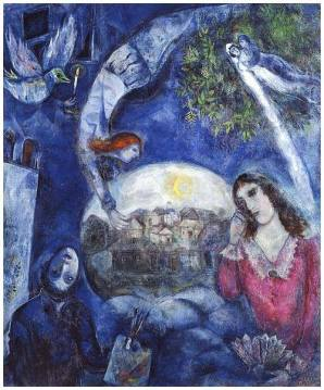 Autour d'elle, oil on fabric by Marc Chagall (1887-1985), French artisit, Belarusian ethnic