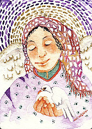 Angel and Dove, original watercolor by Gretchen Del Rio, all rights reserved