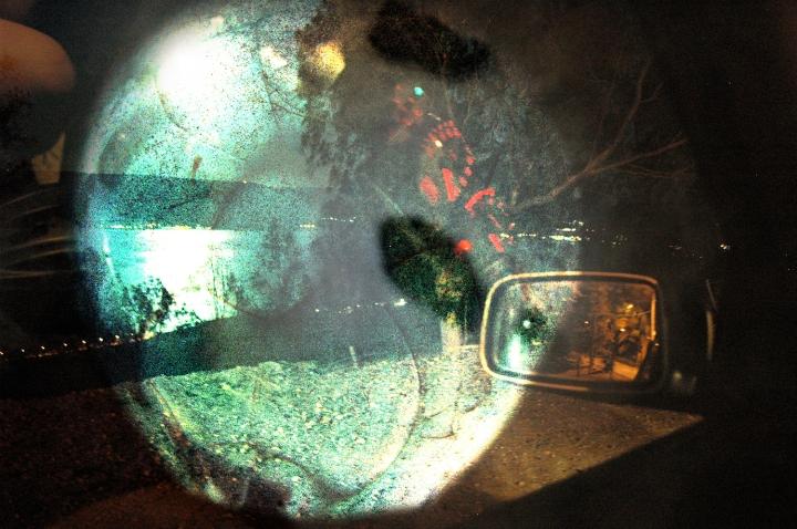 Kinneret IX photo collage / digital art dancing light and dark dissonance