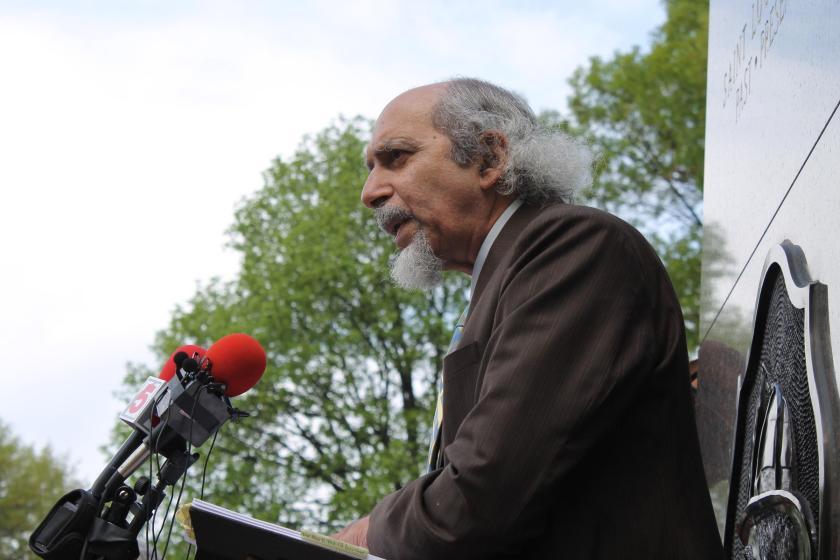Poet-Activist Michael Castro reading a poem. Photo: Jason Rosenbaum, St. Louis Public Radio