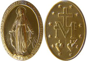 "Medal of the Immaculate Conception (aka Miraculous Medal), a medal created by Saint Catherine Labouré in response to a request from the Blessed Virgin Mary who allegedly appeared rue du Bac, Paris, in 1830. The message on the recto reads: ""O Mary, conceived without sin, pray for us who have recourse to thee — 1830""."