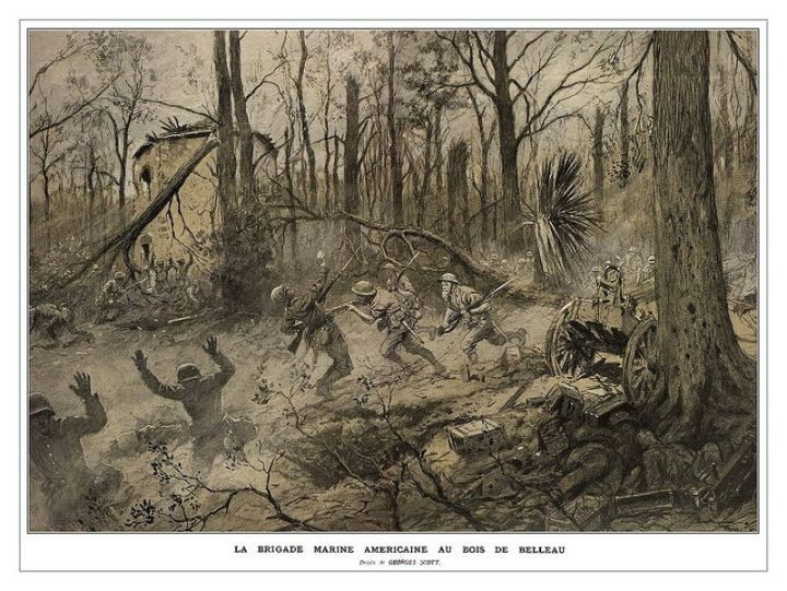"Georges Scott (1873-1943) illustration ""American Marines in Belleau Wood (1918)"" - originally published in the French Magazine ""Illustrations"" - retrieved from http://www.greatwardifferent.com/Great_War/Georges_Scott/Scott_Belleau_Wood_01.htm"