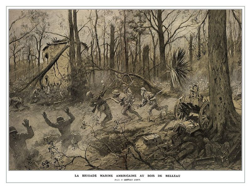 """Georges Scott (1873-1943) illustration """"American Marines in Belleau Wood (1918)"""" - originally published in the French Magazine """"Illustrations"""" - retrieved from http://www.greatwardifferent.com/Great_War/Georges_Scott/Scott_Belleau_Wood_01.htm"""