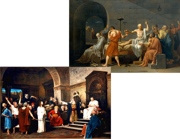 Upper right: The Death of Socrates by Jacques-Louis David. Lower left: Christ before Pilate by Munkácsy Mihály