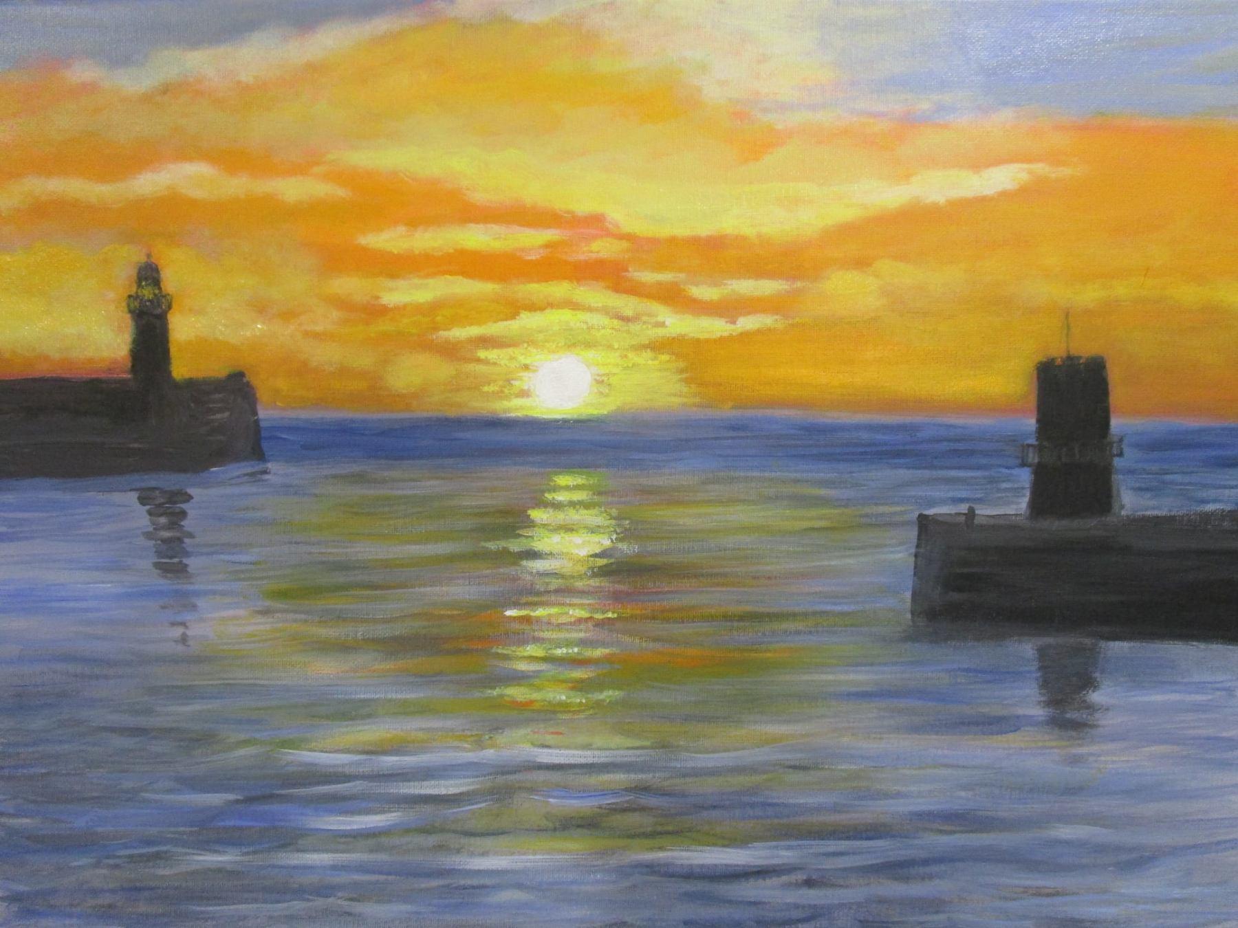 Acrylic painting of Whitehaven harbour entrance, Whitehaven, Cumbria, Northwest England - Tom Higgins