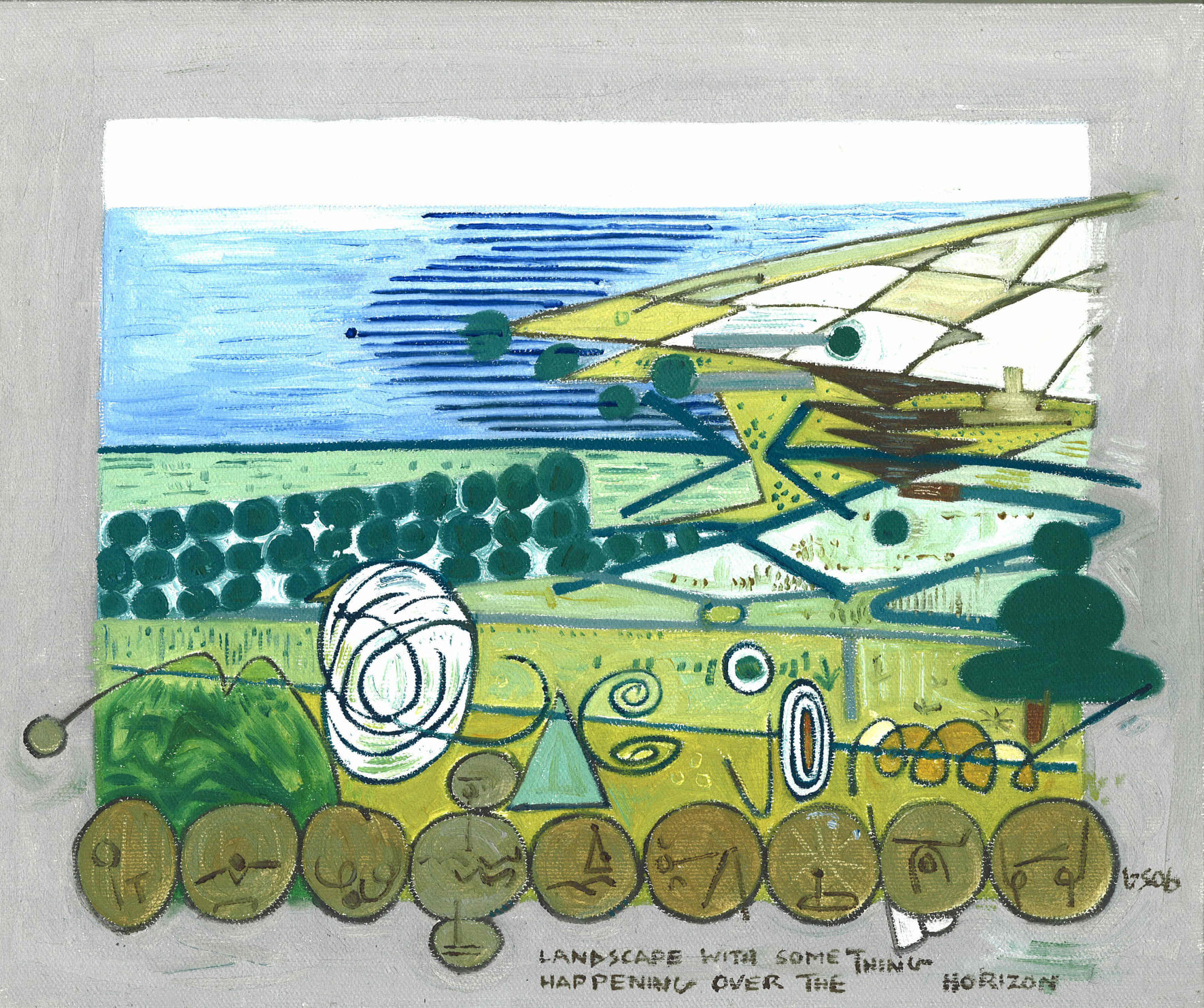 Landscape With Something Happening Over The Horizon - Gerry Shepherd